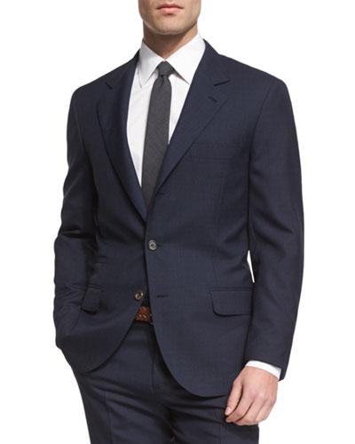 Pied-de-Poule Mini Houndstooth Wool Suit, Navy