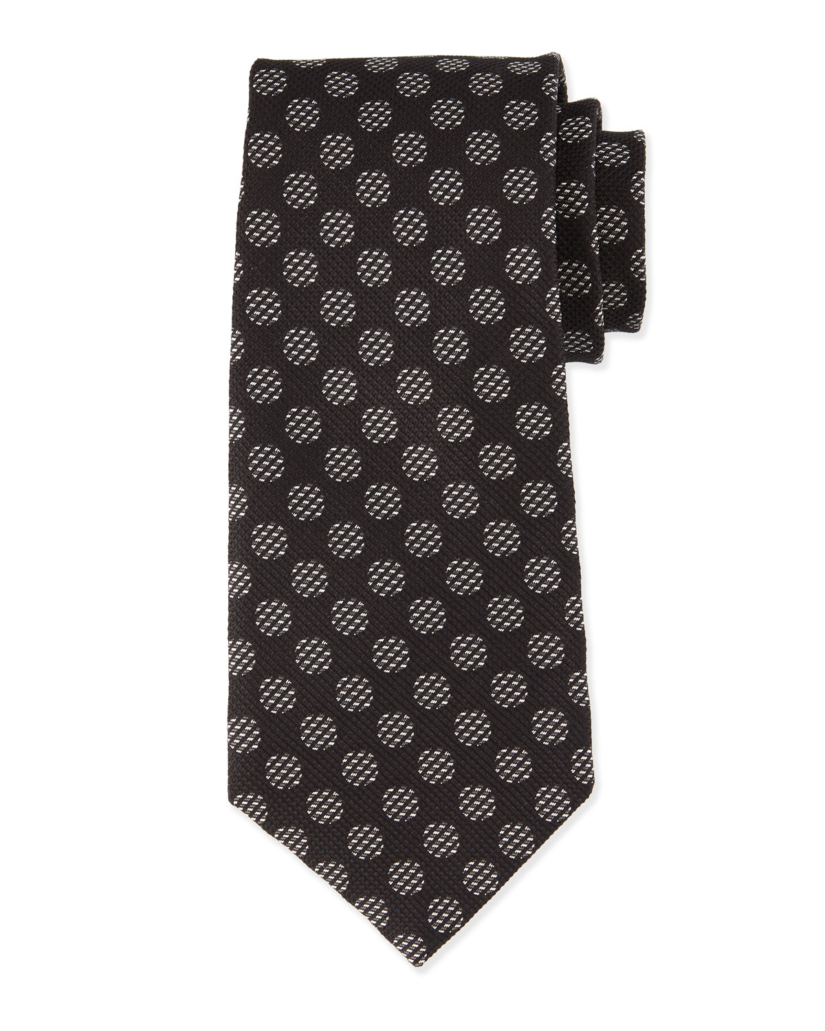 tom ford large dot print silk tie white black neiman marcus. Black Bedroom Furniture Sets. Home Design Ideas