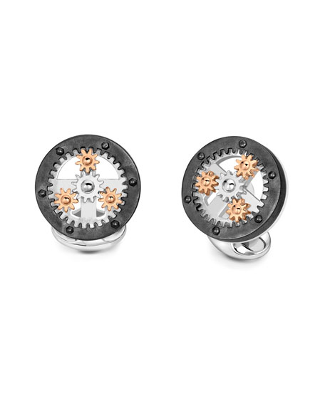 Deakin & Francis Gear Wheel Silver Cuff Links