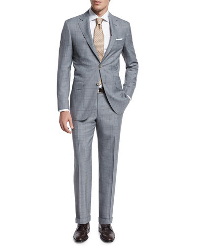 Sienna Contemporary-Fit Plaid Suit, Light Gray
