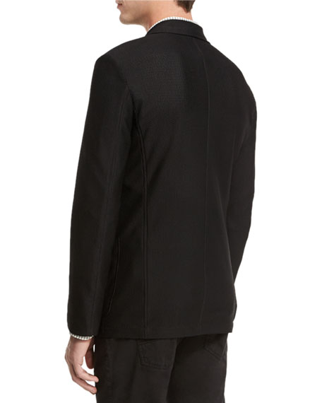 Textured Two-Button Jacket, Black