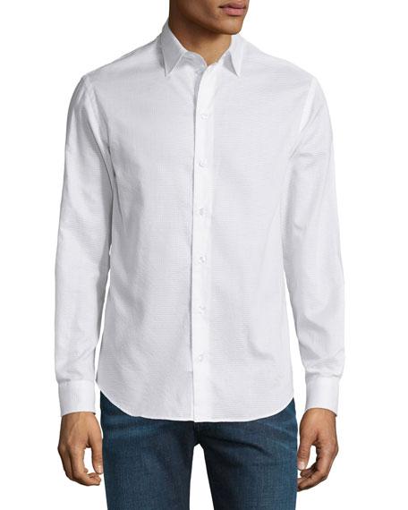 Armani Collezioni Tonal Textured Jacquard Sport Shirt, White