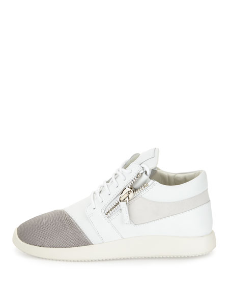 Double-Zip Lace-Up Trainer Sneaker