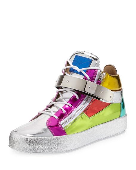 Giuseppe ZanottiMulticolored Metallic Mid-Top Leather Sneaker, Multi