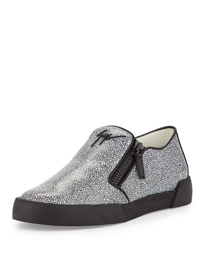 Stingray-Embossed Leather Slip-On Sneaker, Black/White