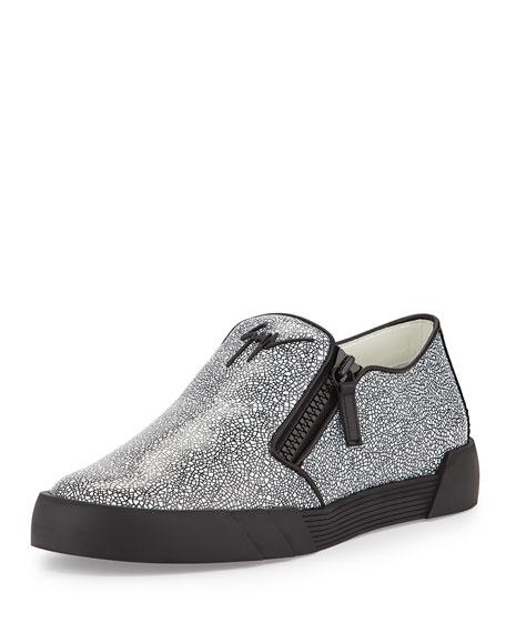 Giuseppe Zanotti Stingray-Embossed Leather Slip-On Sneaker,