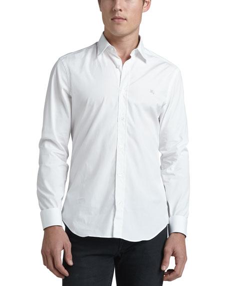 Cambridge Check-Detail Sport Shirt, White