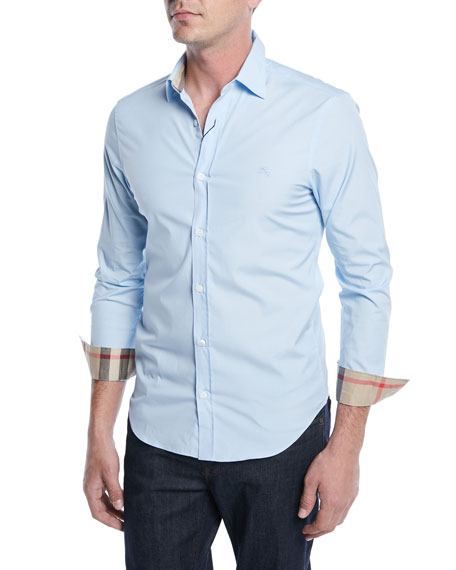 Cambridge Slim-Fit Stretch-Cotton Sport Shirt, Pale Blue