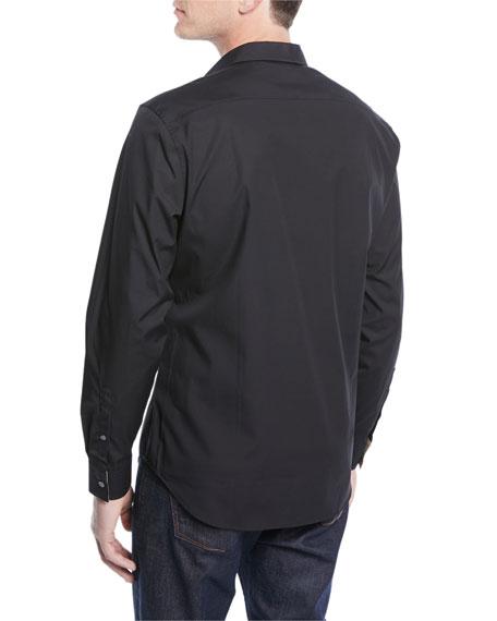 Cambridge Check-Trim Woven Shirt, Black