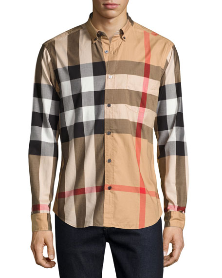Burberry brit fred woven check sport shirt tan for Burberry brit checked shirt