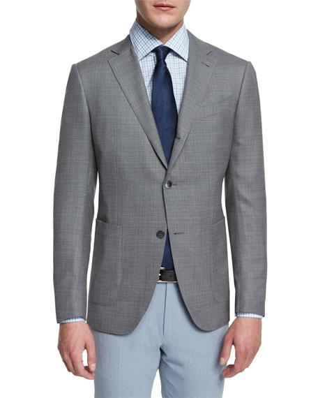 Ermenegildo Zegna Milano Textured Solid Two-Button Blazer, Gray