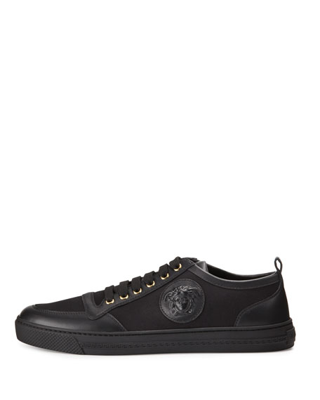 Leather/Canvas Low-Top Sneaker, Black