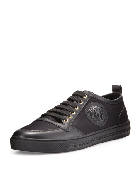 Versace Leather/Canvas Low-Top Sneaker, Black