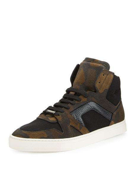 Burberry Wheatfield Men's Camo-Print High-Top Sneaker, Dark Green
