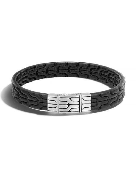 John Hardy Classic Chain Men's Leather Bracelet
