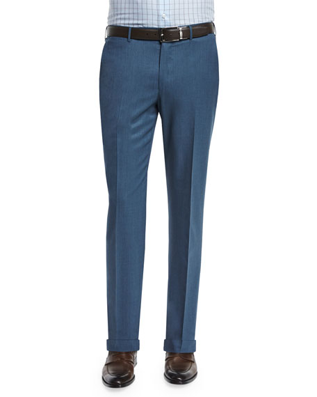 High Performance Flat-Front Twill Trousers, Blue