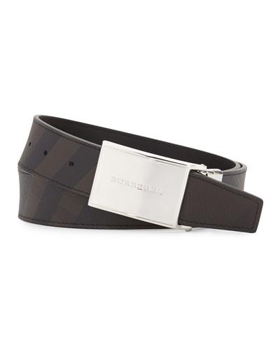 Charles Smoke Check Plaque Belt, Black