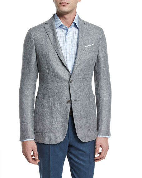 Textured Basketweave Two-Button Jacket & High Performance