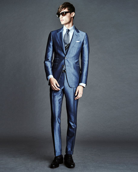 TOM FORD O'Connor Base Half-Lined Silk Suit, Light Blue