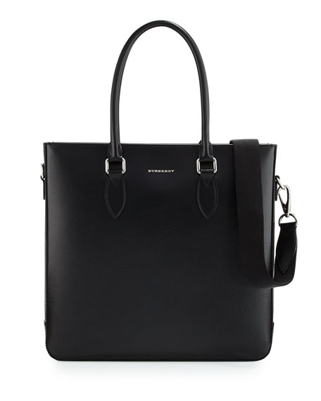 Burberry Kenneth Men's Leather Tote Bag, Black