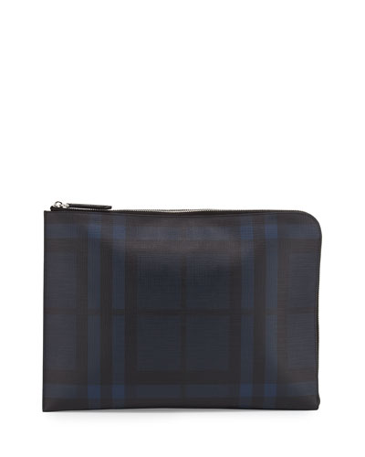 London Check Men's Document Case, Navy/Black