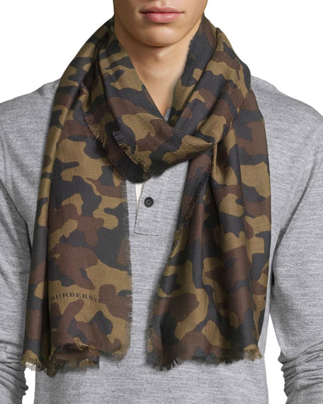 Burberry Camo-Print Cotton-Blend Scarf, Green