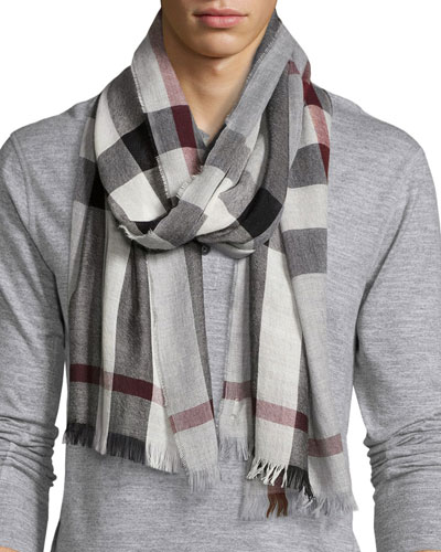 Lightweight Cashmere-Blend Mega-Check Scarf, Gray