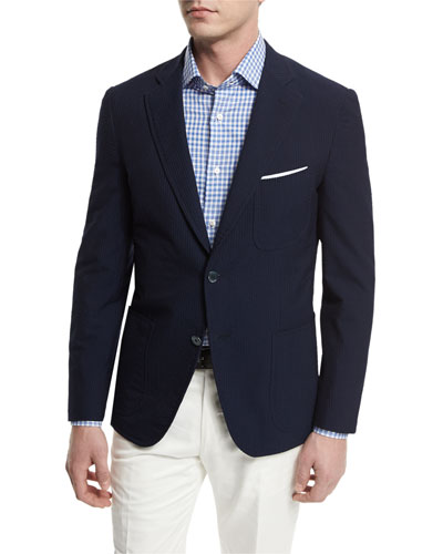 Seersucker Two-Button Sport Coat, Navy