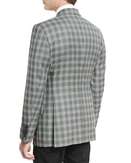 O'Connor Base Prince of Wales Sport Jacket, Black/White