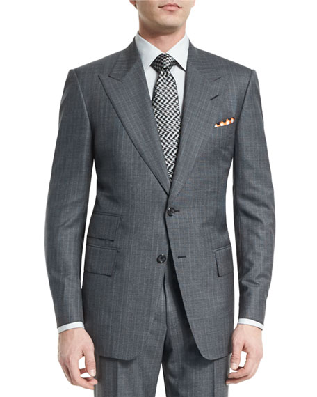 Windsor Base Micro-Pinstripe Suit, Gray