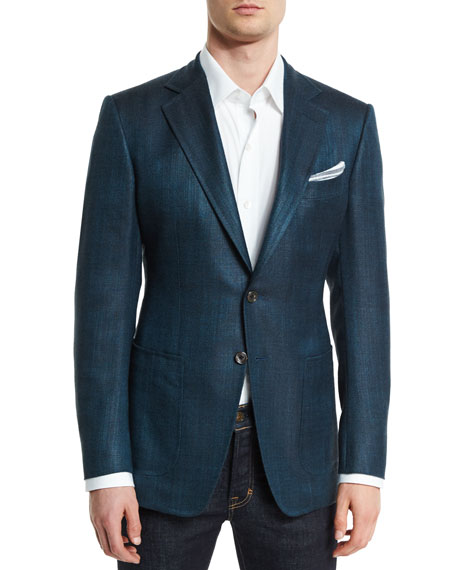 Image 1 of 4: O'Connor Base Rustic Herringbone Sport Jacket, Teal