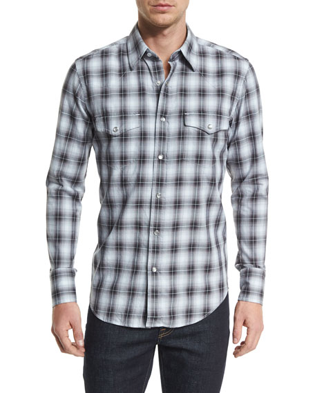 TOM FORD Western-Style Washed Check Sport Shirt, Black