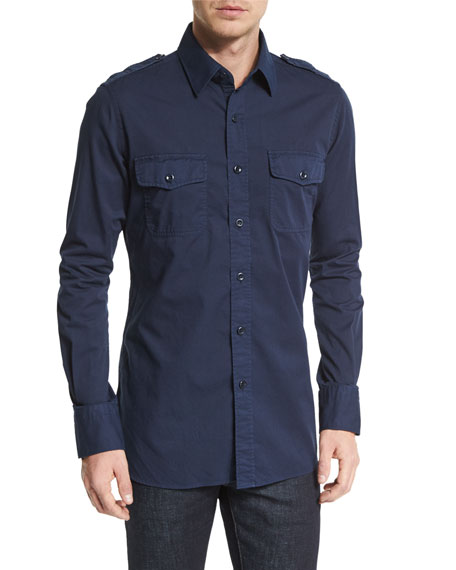 TOM FORD Military-Style Washed Twill Sport Shirt, Navy