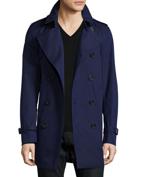 Burberry London Slim-Fit Double-Breasted Trench Coat, Blueberry
