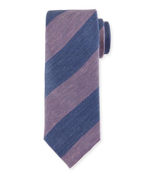 Ike Behar Neckwear Textured Wide-Stripe Silk Tie, Blue/Pink