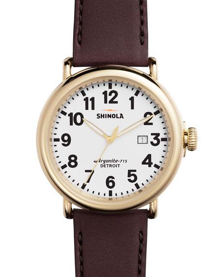 Shinola47mm Runwell Leather Watch, Oxblood