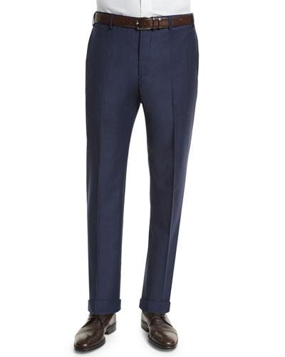 Parker Serge Super 150s Trousers, Navy