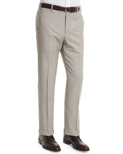 Parker Flat-Front End-On-End Trousers, Light Beige