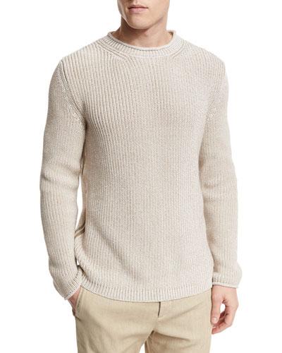 Chunky-Knit Crewneck Sweater, Oatmeal