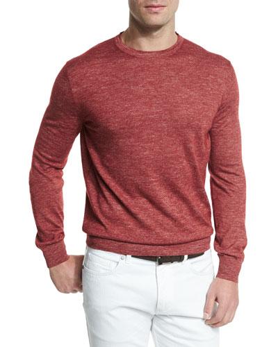 Cashmere-Blend Crewneck Sweater, Red