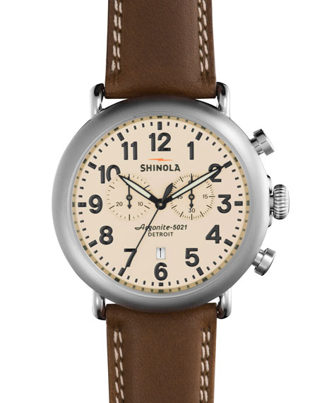 Shinola 47mm Runwell Chronograph Leather Watch, Dark Nut
