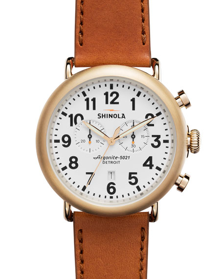 Shinola 47mm Runwell Chronograph Watcher, Bourbon
