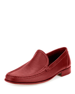 Perforated-Leather Sport Moccasin, Red