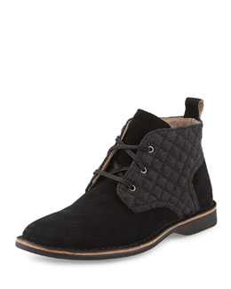 Quilted Suede Chukka Boot, Black