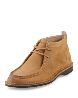 Suede Lace-Up Moccasin Boot, Date/Natural