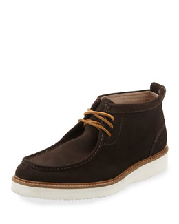 Suede Lace-Up Moccasin Boot, Cola/White