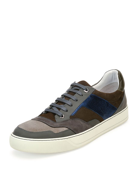 Lanvin Men's Mixed-Media Low-Top Sneaker, Brown