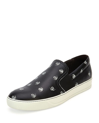Men's Spider-Print Leather Slip-On Sneaker, Black