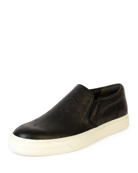 Alexander McQueen Embossed-Skull Leather Skate Shoe, Black