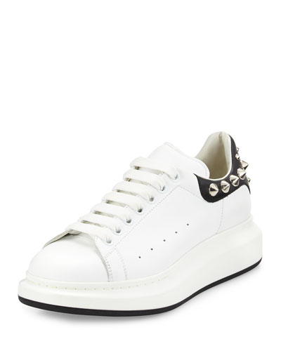 Studded Leather Low-Top Sneaker, White
